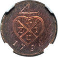 India:Bombay Presidency, India: British India. Bombay Presidency Proof 1/2 Pice 1794 PR65Red Brown NGC,...