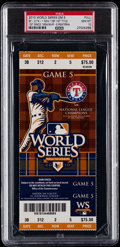 Baseball Collectibles:Tickets, 2010 World Series Game 5 Full Ticket PSA Gem Mint 10 - S.F. GiantsClinch 1st Title Since 1954....