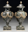 Decorative Arts, Continental:Other , A Pair of Gilt Bronze and Green Marble Lidded Cassolettes, 20thcentury. 18-1/8 inches high (46.0 cm). ... (Total: 2 Items)