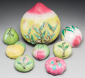 Asian:Chinese, Eight Chinese Glazed Pottery Fruits . 7-3/4 h x 9 w x 9-1/2 dinches (19.7 x 22.9 x 24.1 cm) (largest). ... (Total: 8 Items)