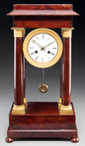Clocks & Mechanical:Clocks, A French Second Empire Mahogany and Gilt Bronze Portico Clock, late 19th century. 19-3/8 h x 10-1/2 w x 6-3/4 d inches (49.2...