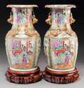 Asian:Chinese, A Pair of Chinese Export Porcelain Rose Medallion Vases on Stands,late 19th century. 16-3/4 inches high (42.5 cm) (vases on...(Total: 2 Items)