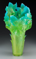 Art Glass:Daum, A Large Daum Green and Turquoise Pate de Verre Glass MagnumAmaryllis Vase, Nancy, France, late 20th century. Ma...