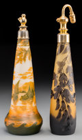 Art Glass:Other , Two D'Argental and DeVez Overlay Glass Perfume Atomizers, circa1915. Marks: D'argental; deVez. 12-3/8 inches high(... (Total: 2 Items)