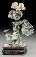 Asian:Chinese, A Large Chinese Carved Jade Figural Group on Stand: Cranes AmongLotus Blossoms. 11-1/2 inches high (29.2 cm) (group...