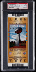 Football Collectibles:Tickets, 2008 Super Bowl XLII Full Ticket PSA Gem Mint 10 - N.Y. Giants Win 3rd Super Bowl Title....