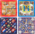 """Luxury Accessories:Accessories, Hermes Set of Four; 90cm Silk Scarves. Excellent Condition. 36"""" Width x 36"""" Length. 36"""" Width x 36"""" Length. 36"""" Width x 36... (Total: 4 Items)"""