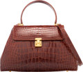 """Luxury Accessories:Bags, Lana Marks Shiny Brown Crocodile Top Handle Bag. Very Good Condition. 12"""" Width x 8"""" Height x 5"""" Depth. ..."""