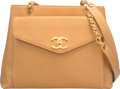 """Luxury Accessories:Bags, Chanel Beige Caviar Leather Shoulder Bag. Good to Very GoodCondition. 12"""" Width x 9.5"""" Height x 3"""" Depth. ..."""