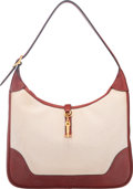 Luxury Accessories:Bags, Hermes 31cm Rouge H Calf Box Leather & Ecru Toile H Canvas TrimII Bag with Gold Hardware. F Square, 2002. Very GoodC...