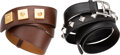 Luxury Accessories:Accessories, Hermes Set of Two; Black Swift & Chocolate Courchevel LeatherBelts. M Square, 2009 & T Circle, 1990. Very Good toExcelle... (Total: 2 )