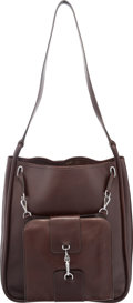 """Luxury Accessories:Bags, Hermes Marron Fonce Courchevel Leather Kilt Bag with PalladiumHardware. F, 1950. Good Condition. 12"""" Width x 14"""" Heightx..."""