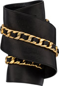 """Luxury Accessories:Accessories, Chanel Black Lambskin Leather Chain Belt. Good Condition.4"""" Width x 23.5"""" Length. ..."""
