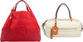 "Luxury Accessories:Bags, Gucci Set of Two; Red & Beige Leather Shoulder Bags. VeryGood Condition. 17"" Width x 15"" Height x 5.5"" Depth. 14"" Width x...(Total: 2 Items)"
