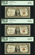 Small Size:World War II Emergency Notes, Fr. 2300 $1 1935A Hawaii Silver Certificates. Three Examples. PCGS Graded.. ... (Total: 3 notes)