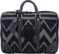 """Luxury Accessories:Bags, Louis Vuitton Navy Blue Leather & Grey Wool Veil Blanket TravelBag. Excellent Condition. 18"""" Width x 13"""" Height x 6""""..."""