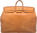 """Luxury Accessories:Bags, Hermes 55cm Vache Naturelle Leather HAC Birkin Bag with Gold Hardware. Good Condition. 21.5"""" Width x 17.5"""" Height x 10..."""