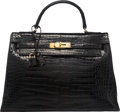 "Luxury Accessories:Bags, Hermes 32cm Shiny Black Crocodile Sellier Kelly Bag with GoldHardware. P, 1960. Good Condition. 12.5"" Width x9"" ..."