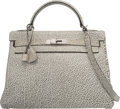 Luxury Accessories:Bags, Hermes 32cm Black Dalmatian Buffalo Leather Retourne Kelly Bag with Palladium Hardware. D Square, 2000. Very Good to E...