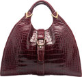 "Luxury Accessories:Bags, Gucci Shiny Red Crocodile Tote Bag. Good to Very GoodCondition. 15.5"" Width x 9"" Height x 5.5"" Depth. ..."