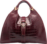 """Gucci Shiny Red Crocodile Tote Bag Good to Very Good Condition 15.5"""" Width x 9"""" Height x 5.5"""" Dep"""