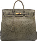 """Luxury Accessories:Bags, Hermes 45cm Vert Foret Ostrich HAC Birkin Bag with Gold Hardware.Circa 1990's. Good to Very Good Condition. 17.5""""Wid..."""