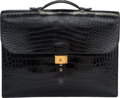 Luxury Accessories:Bags, Hermes 38cm Shiny Black Crocodile Sac a Depeches Bag with ...
