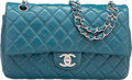 "Luxury Accessories:Bags, Chanel Blue Quilted Lambskin Leather Medium Double Flap Bag.Very Good Condition. 10"" Width x 6"" Height x 2.5"" Depth. ..."