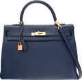 "Luxury Accessories:Bags, Hermes 35cm Blue Saphir Clemence Leather Retourne Kelly Bag withGold Hardware. Q Square, 2013. Excellent Condition. 14"" W..."
