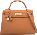 Luxury Accessories:Bags, Hermes 32cm Gold Courchevel Leather Sellier Kelly Bag with...