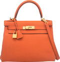 """Luxury Accessories:Bags, Hermes 28cm Terre Battue Togo Leather Retourne Kelly Bag with GoldHardware. X, 2016. Excellent Condition. 11""""Wid..."""