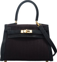 Hermes 20cm Black Veau Doblis Suede & Pleated Satin Sellier Kelly Bag with Gold Hardware Circa 1990's