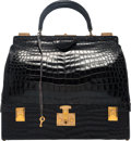 "Luxury Accessories:Bags, Hermes Shiny Black Crocodile Sac Mallette Bag with Gold Hardware.Circa 1950's. Good Condition. 12"" Width x 11"" Height x 5..."