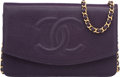 "Luxury Accessories:Bags, Chanel Purple Caviar Leather Wallet on Chain Bag. Very Good Condition. 7.5"" Width x 5"" Height x 0.5"" Depth. ..."