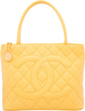 """Luxury Accessories:Bags, Chanel Yellow Quilted Caviar Leather Medallion Tote Bag. VeryGood to Excellent Condition. 12"""" Width x 9.5"""" Height x 6"""" De..."""