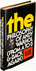 Books:Art & Architecture, Andy Warhol. The Philosophy of Andy Warhol. New York:[1975]. First edition, inscribed. ...
