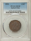 Half Cents: , 1804 1/2 C Spiked Chin XF45 PCGS. PCGS Population: (73/174). ...