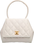 """Luxury Accessories:Bags, Chanel White Quilted Satin Top Handle Bag. Very Good Condition.7"""" Width x 6.5"""" Height x 3"""" Depth. ..."""