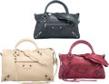 Luxury Accessories:Bags, Balenciaga Set of Three; Latte Beige, Cassis Red & Menthe ...