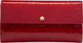 "Luxury Accessories:Accessories, Louis Vuitton Pomme D'Amour Red Monogram Vernis Leather SarahWallet. Very Good to Excellent Condition. 7.5"" Width x 4""He..."