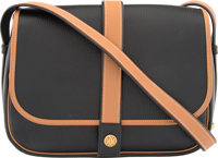 Hermes Black Ardennes Leather & Vache Naturelle Leather Noumea Bag with Gold Hardware W Circle, 1993 Very Go