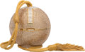 """Luxury Accessories:Bags, Judith Leiber Full Bead Gold & Silver Crystal Sphere MinaudiereEvening Bag. Excellent Condition. 3.5"""" Width x 3.5""""Height..."""
