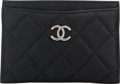 "Luxury Accessories:Accessories, Chanel Black Quilted Caviar Leather Card Case. PristineCondition. 4.5"" Width x 3"" Height x 0.5"" Depth. ..."