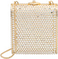 Luxury Accessories:Bags, Judith Leiber Full Bead Silver Crystal Box Minaudiere Even...