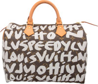 Louis Vuitton Limited Edition Gray Monogram Graffiti Canvas Speedy 30 Bag by Stephen Sprouse Very Good to Excel