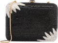 """Luxury Accessories:Bags, Judith Leiber Full Bead Black & Silver Crystal RectangleMinaudiere Evening Bag. Excellent Condition. 6.5"""" Width x 5""""Heig..."""
