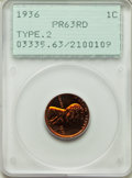 Proof Lincoln Cents: , 1936 1C Type Two -- Brilliant Finish PR63 Red PCGS. PCGS Population: (153/715). NGC Census: (31/173). Mintage 5,569. ...