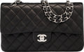 """Luxury Accessories:Bags, Chanel Black Quilted Lambskin Leather Medium Double Flap Bag.Very Good to Excellent Condition. 10"""" Width x 6"""" Height..."""