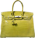 Luxury Accessories:Bags, Hermes 35cm Shiny Vert Anis Porosus Crocodile Birkin Bag with Palladium Hardware. J Square, 2006. Very Good to Excelle...