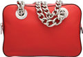 """Luxury Accessories:Bags, Prada Red Leather Chain Tote Bag. Excellent to PristineCondition. 12"""" Width x 8"""" Height x 3.5"""" Depth. ..."""